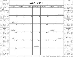 April 2017 montlhy calendar