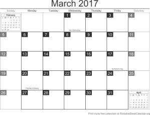 March 2017 blank calendar template