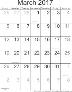 March 2017 free printable calendar