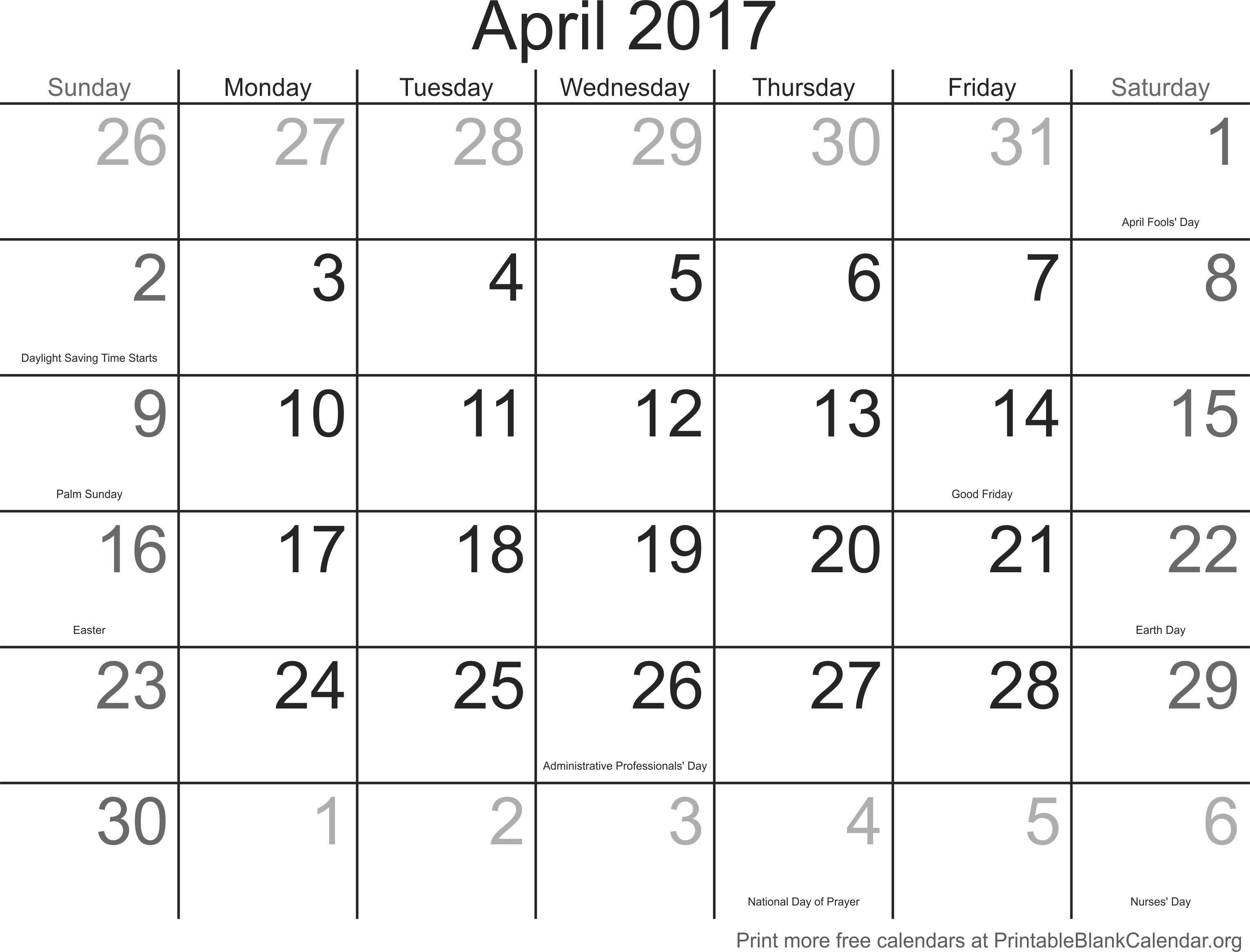 Calendar Template April 2017 Printable Blank Calendar