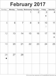 calendar template February 2017