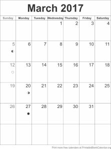 calendar template March 2017