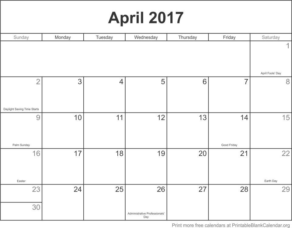 free calendar April 2017