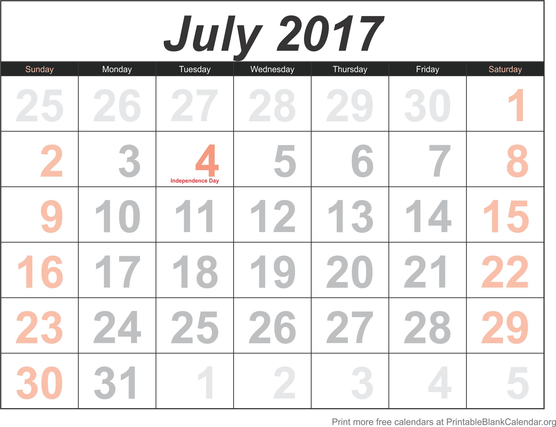 july calendar template