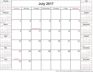 July 2017 free printable calendar