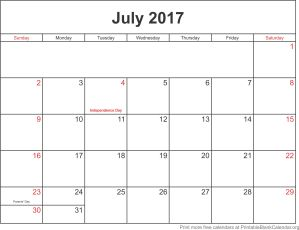 July 2017 printable calendar-template