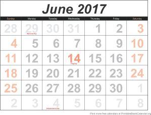 June 2017 blank calendar template