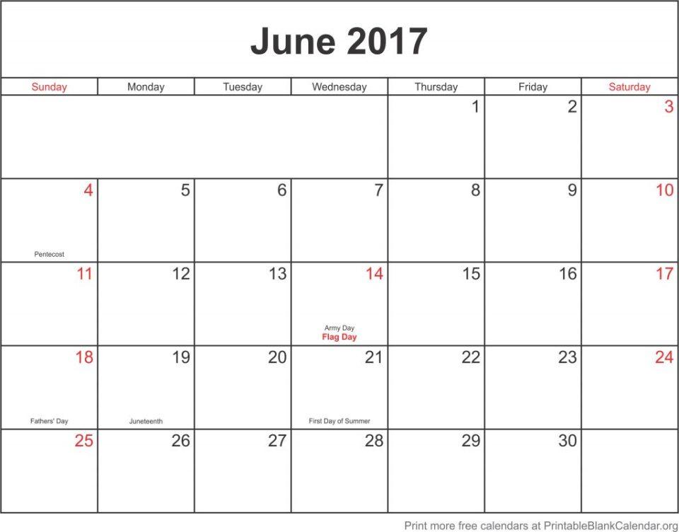 June 2017 calander
