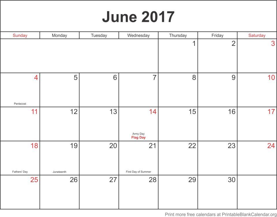 June 2017 Printable Blank Calendar Templates - Printable Blank