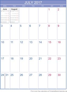 free calendar July 2017
