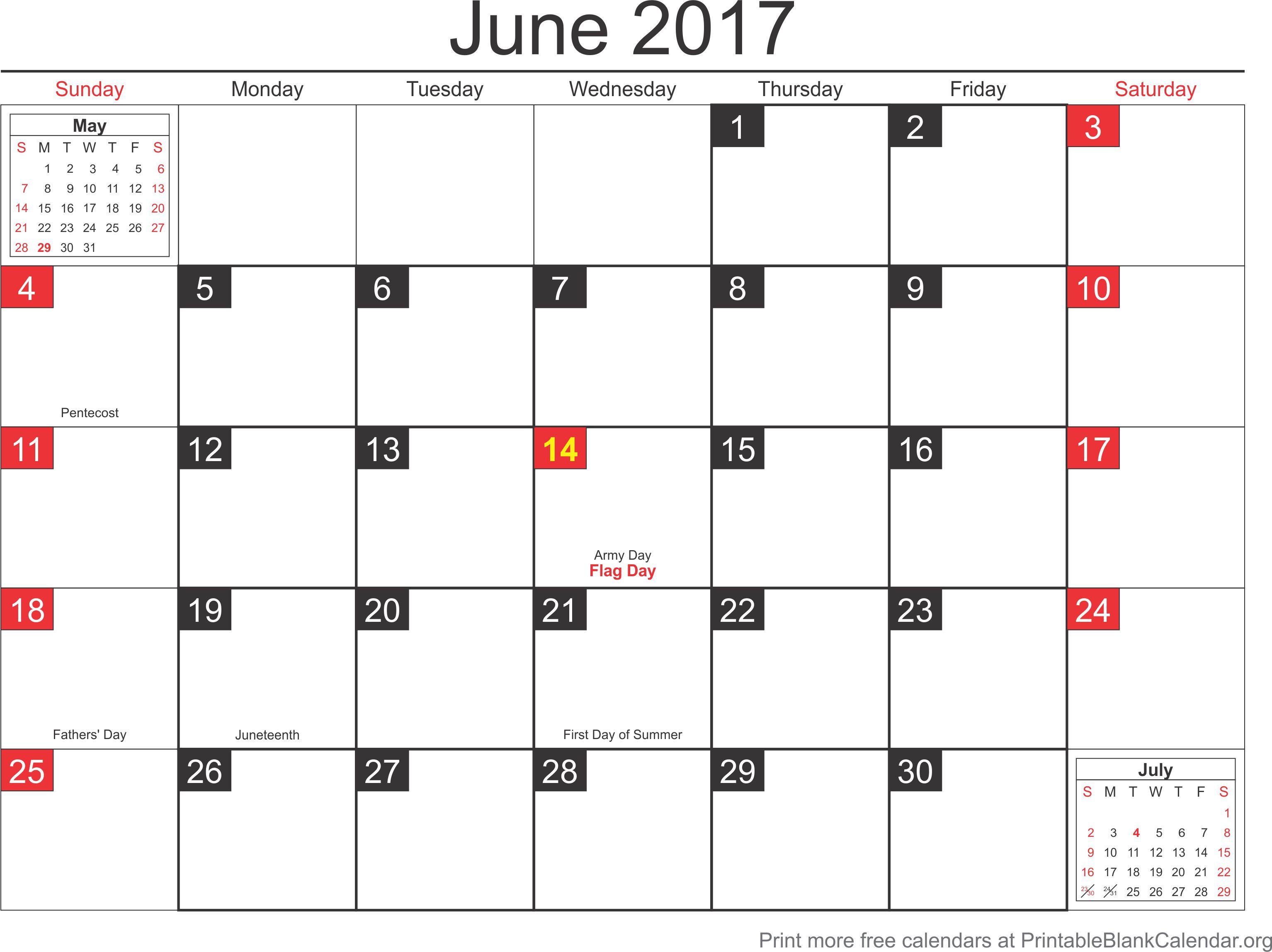 calendar for june 2017