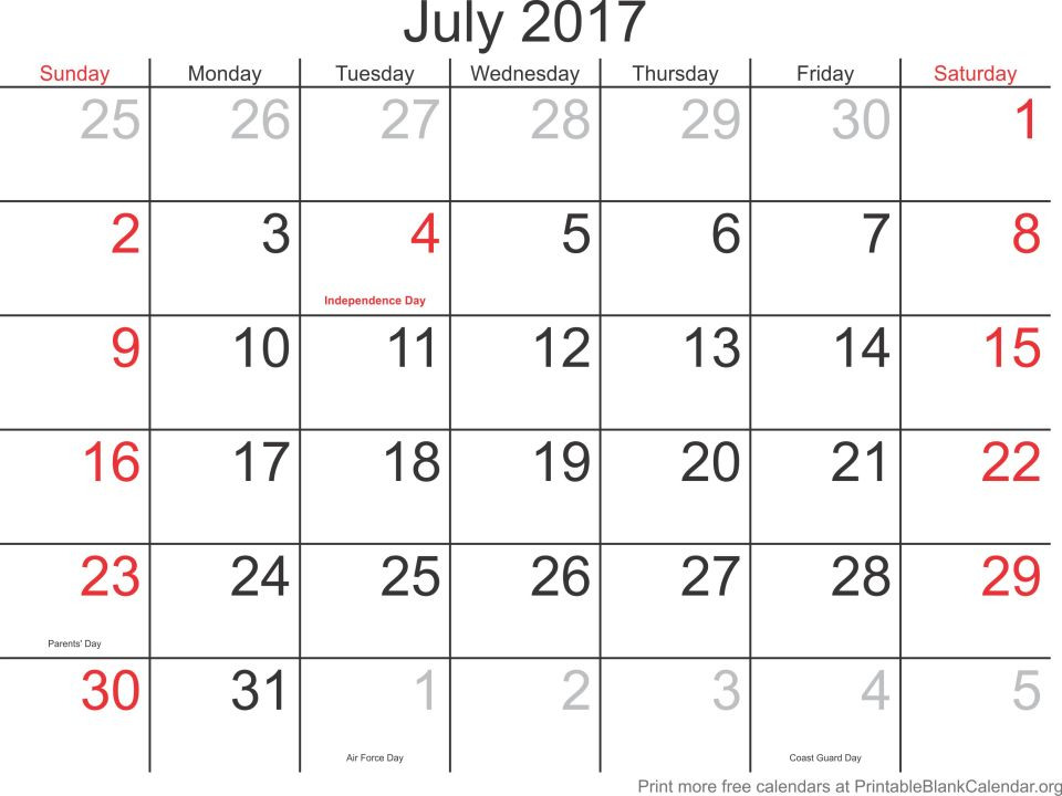 2017 Blank Calendars Archives - Page 4 Of 10 - Printable Blank