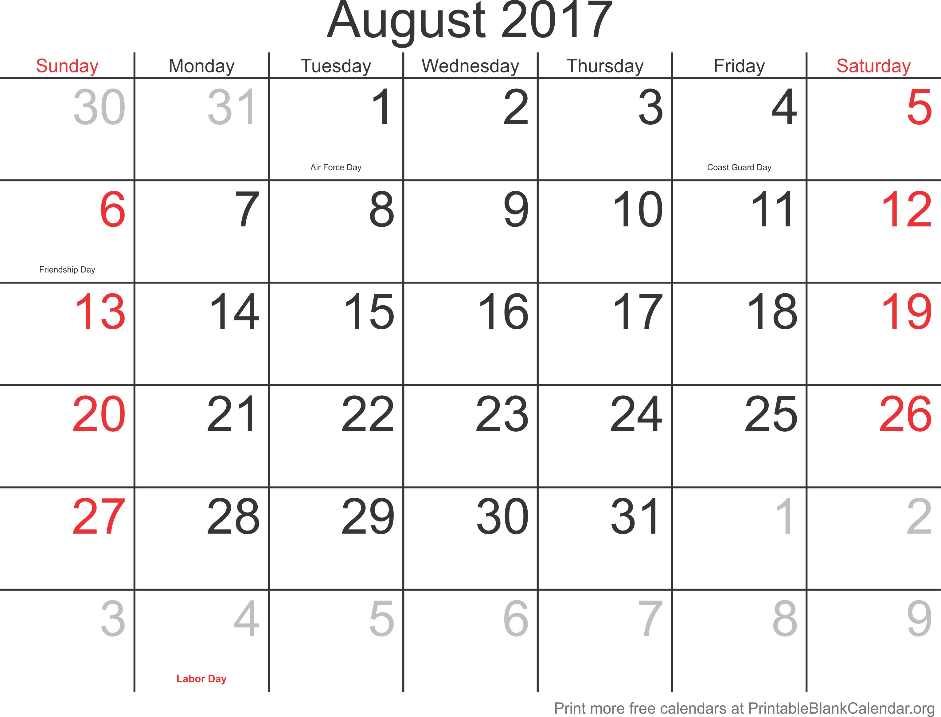 august printable calendars