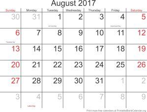 printable calendar August 2017