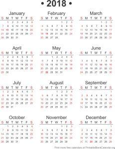 2018 blank calendar
