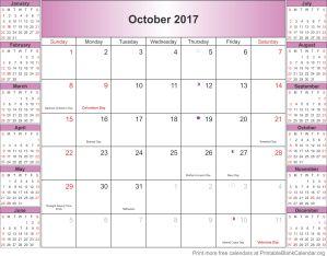 October 2017 blank calendar mini