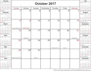 October 2017 calandar