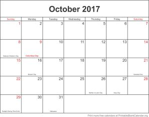 October 2017 monthly calendar