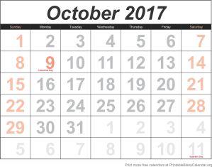 calendar template October 2017