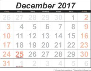 December 2017 blank calendar template