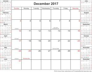 December 2017 free printable calendar