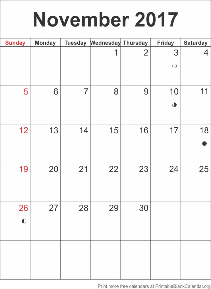 November 2017 Free Printable Calendar Printable Blank Calendar