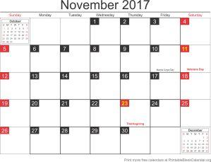 november 2017 blank calendar template