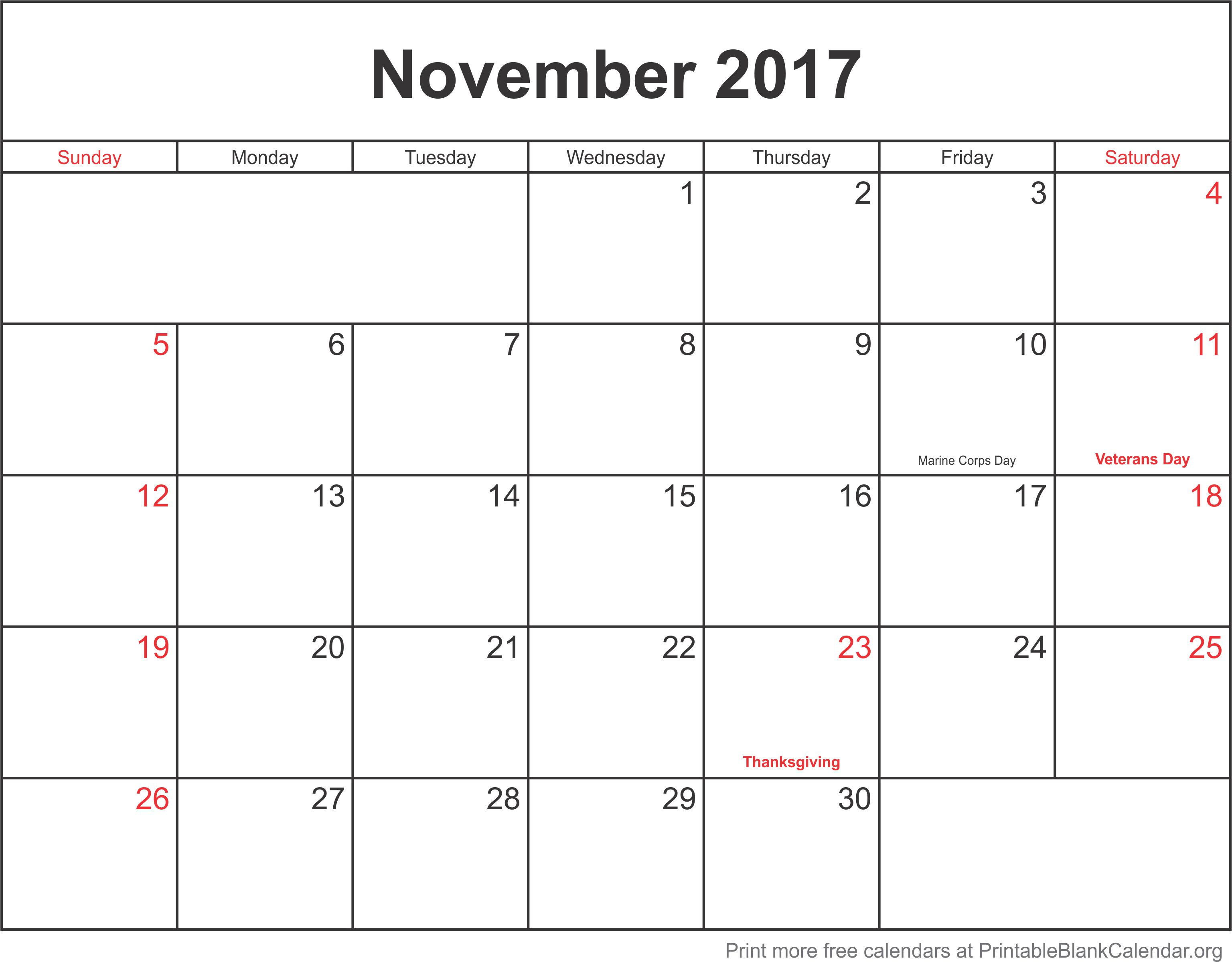 2017 monthly calendars printable