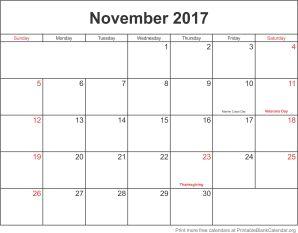 november 2017 monthly calendar