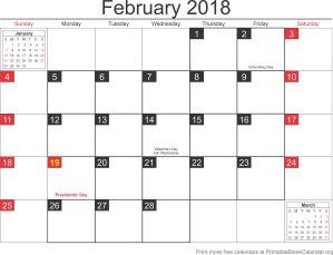 February 2018 calandar