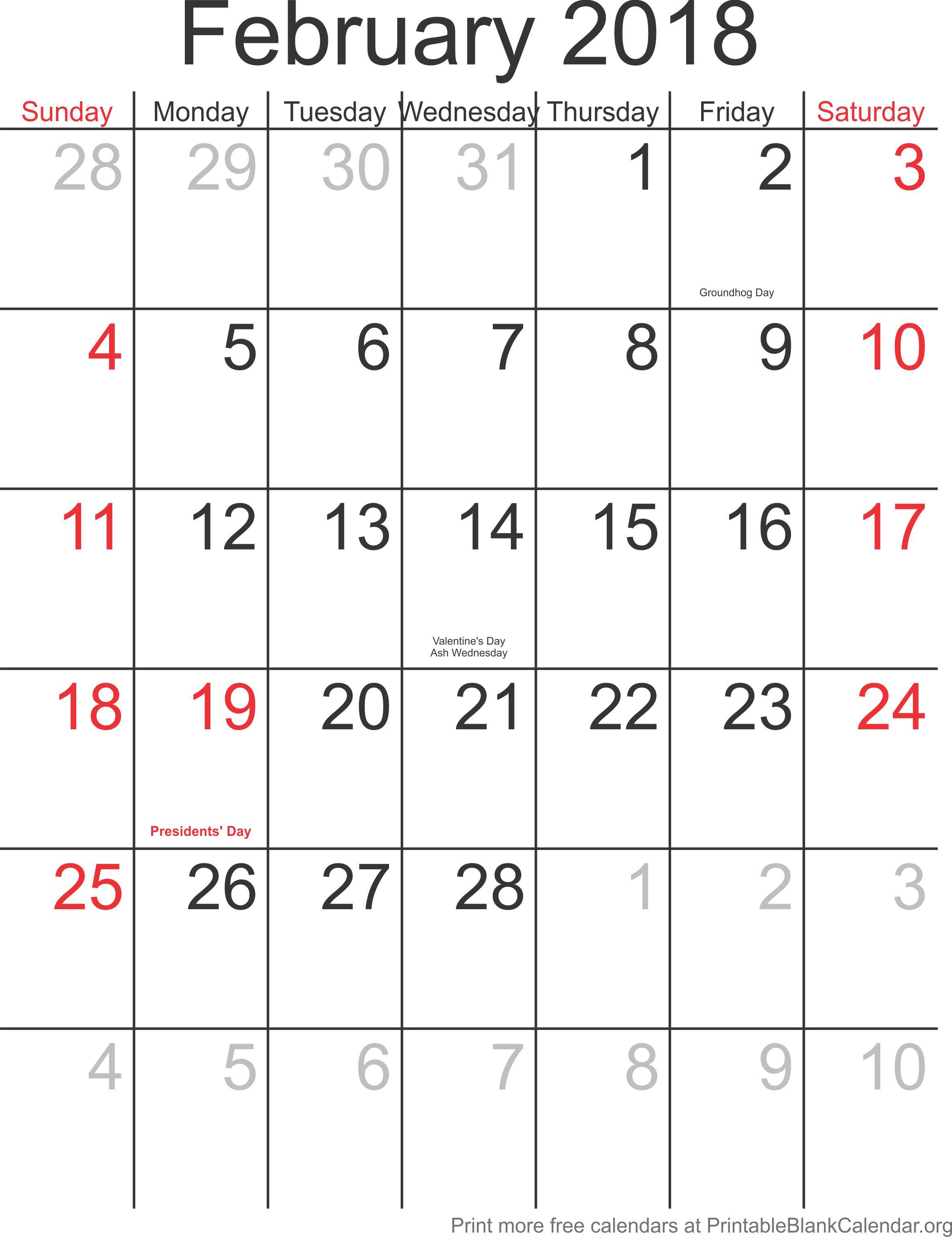 monthly calendar february 2018 printable