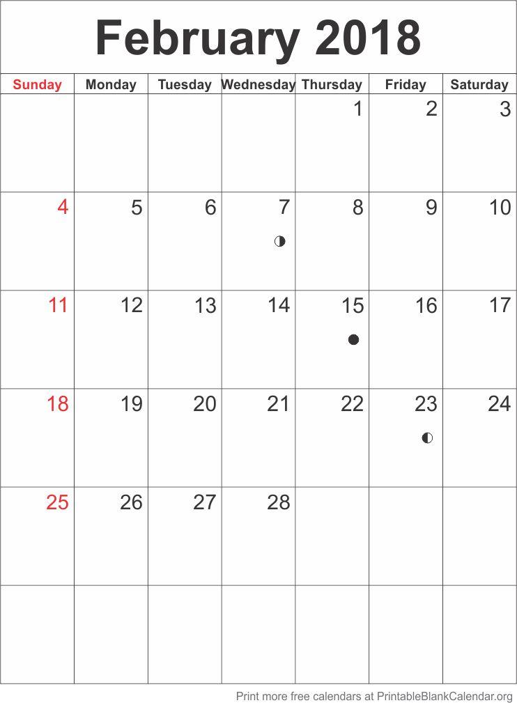 Calendar Template February 2018 Printable Blank Calendar