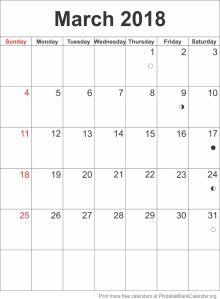 calendar template March 2018