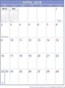 printable calendar April 2018