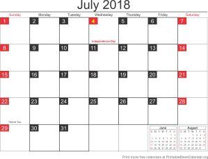 July 2018 blank calendar template