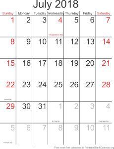 July 2018 free printable calendar