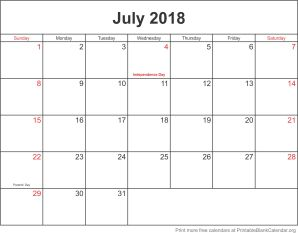 July 2018 printable calendar template