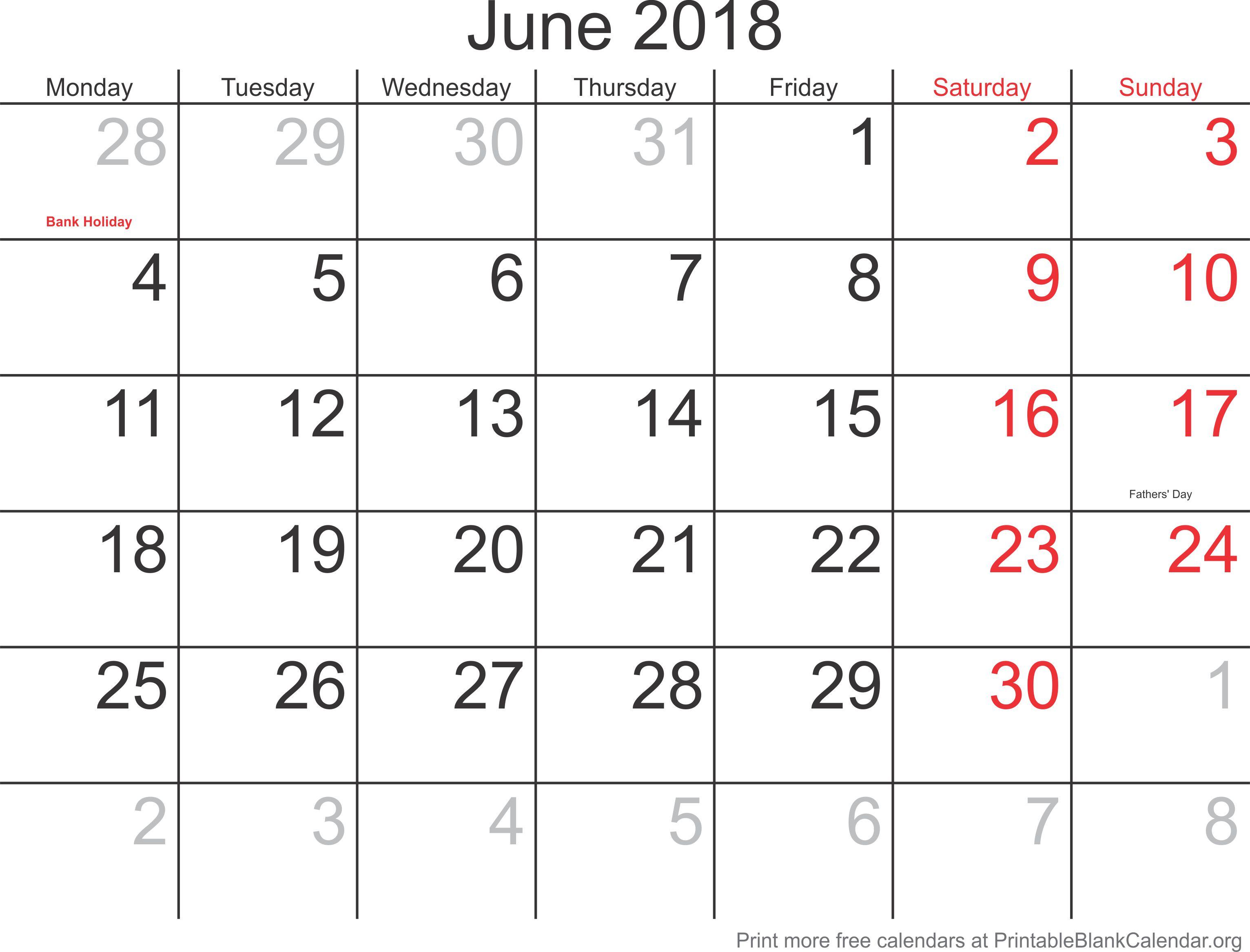 blank 2018 monthly calendar