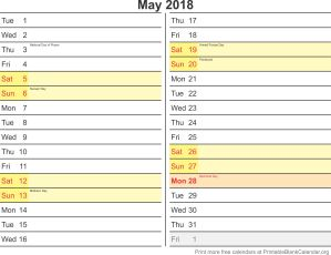 May 2018 calander