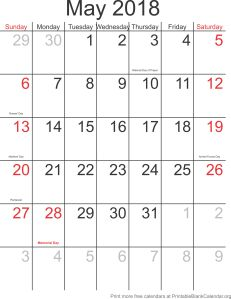 May 2018 free printable calendar