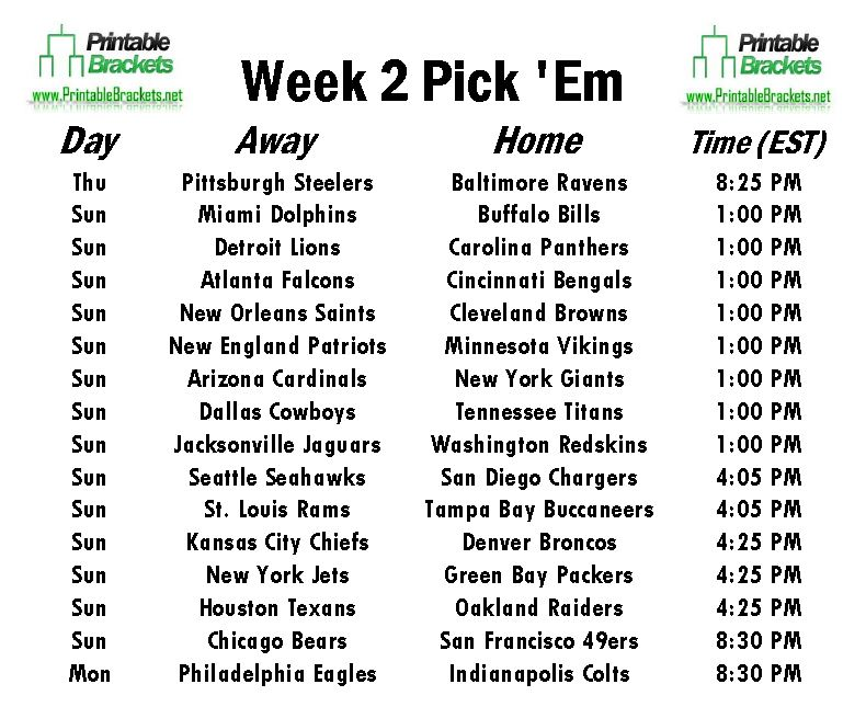 photo relating to Nfl Week 15 Printable Schedule referred to as Nfl Program 7 days 2 Printable Gastronomia Y Viajes