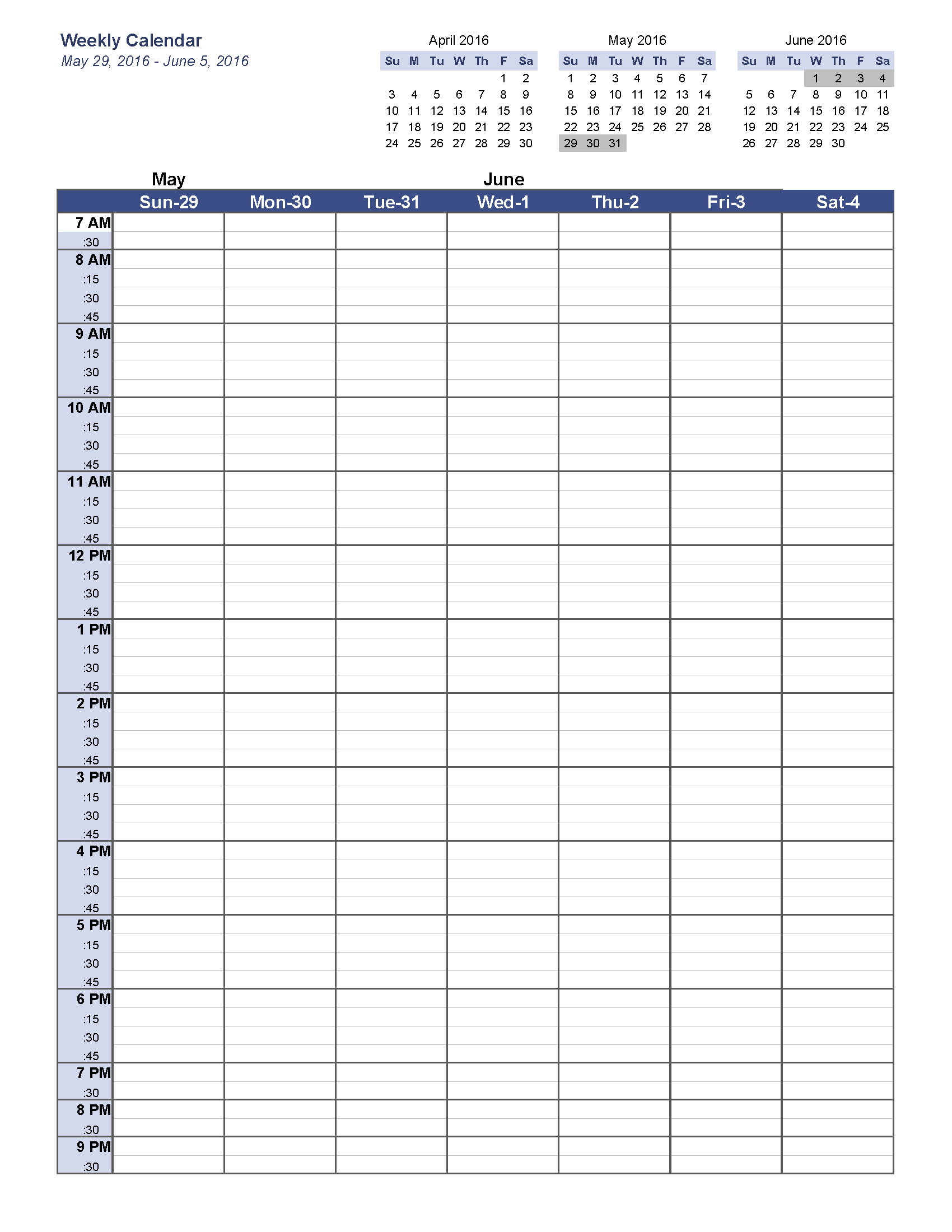 Calendar By Week Template