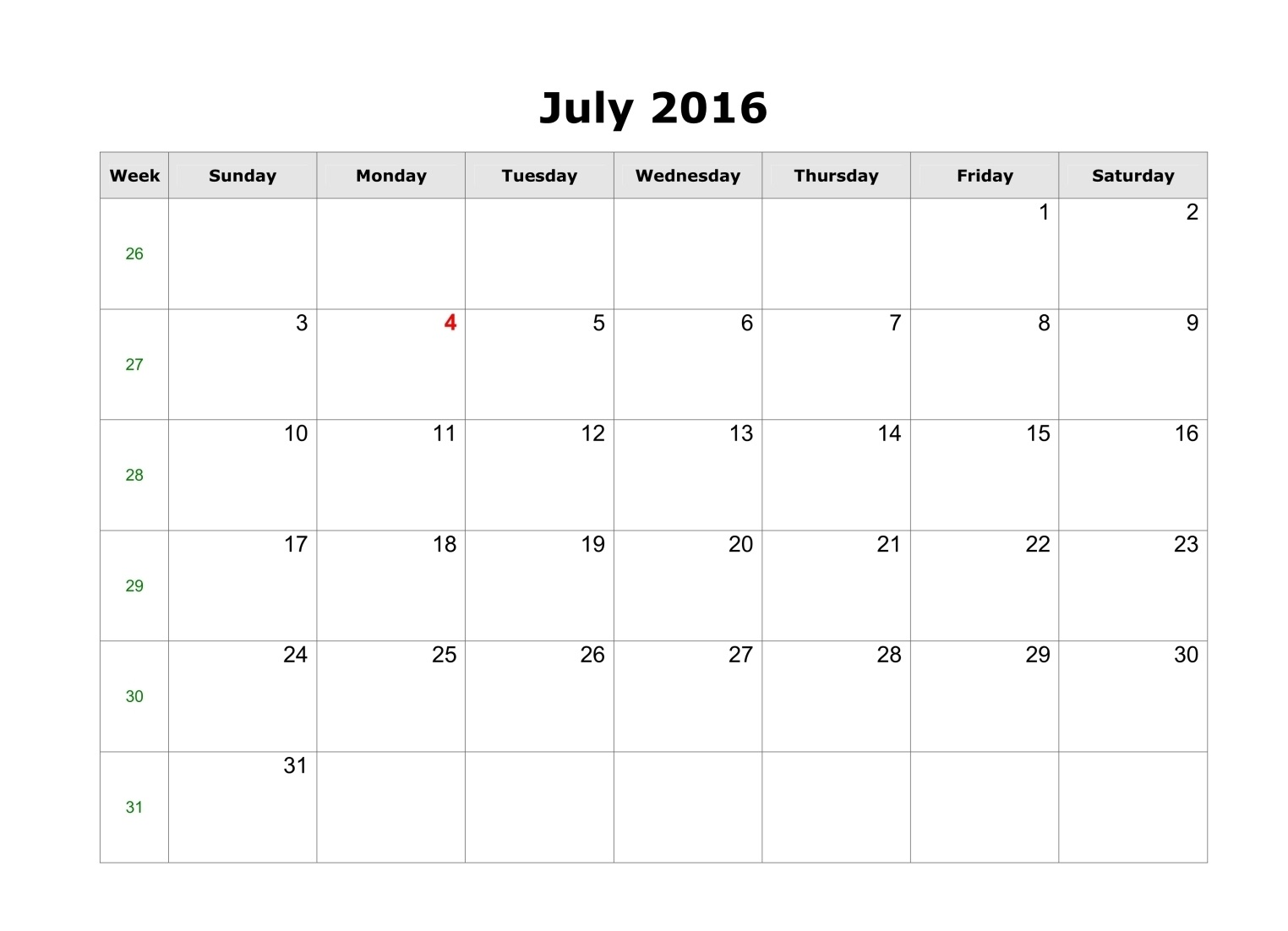 July Printable Calendar Landscape A4 Portrait