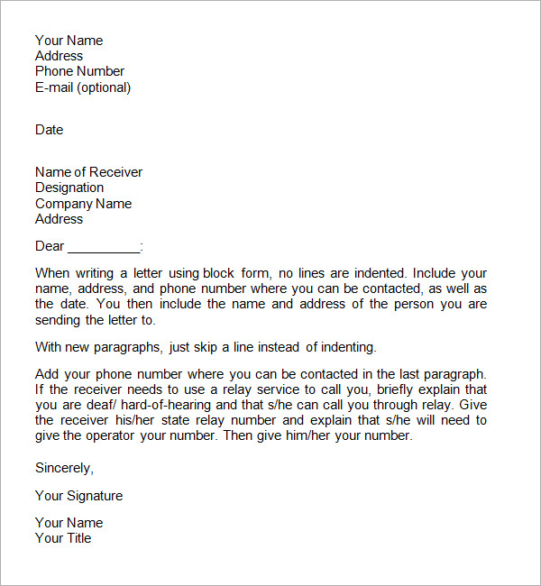 The format of writing a formal letter