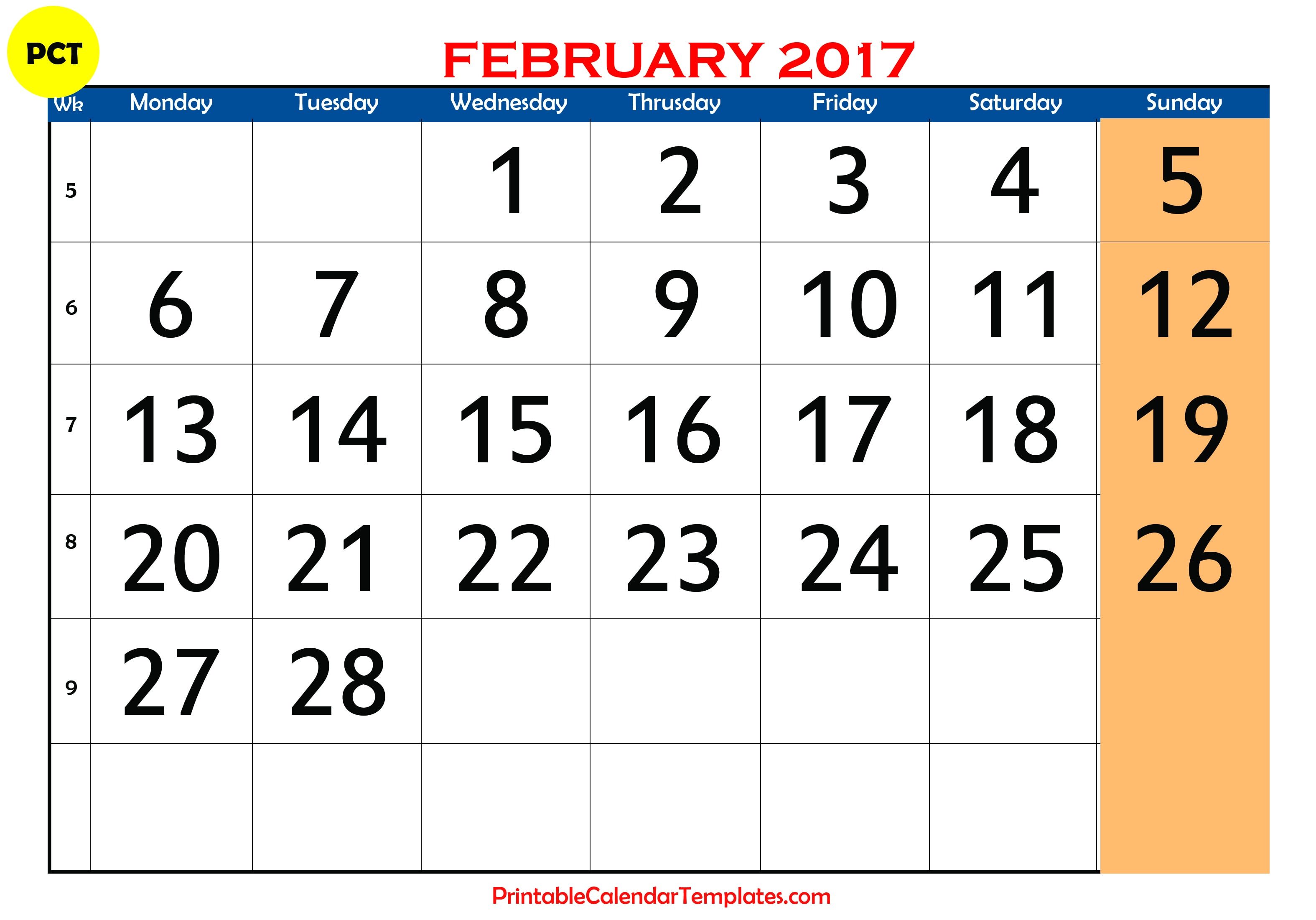 february 2017 calendar printable printable calendar templates