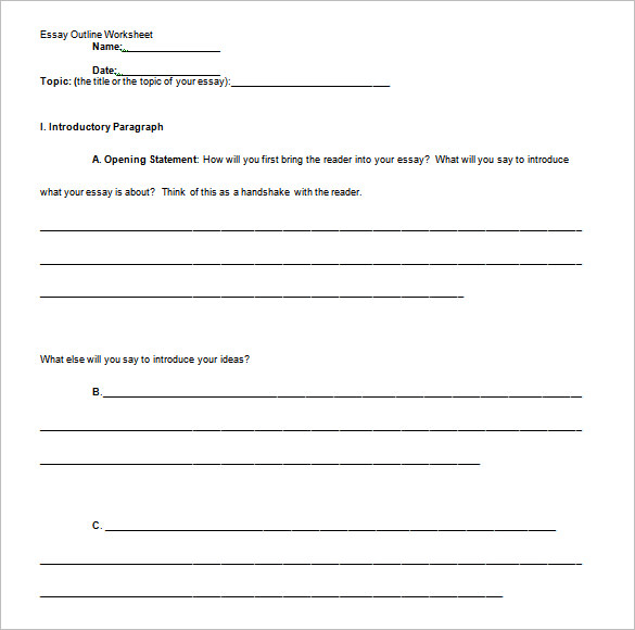 Free Professional Essay Outline Template Samples