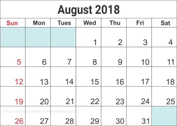 august 2018 printable calendar blank templates printable