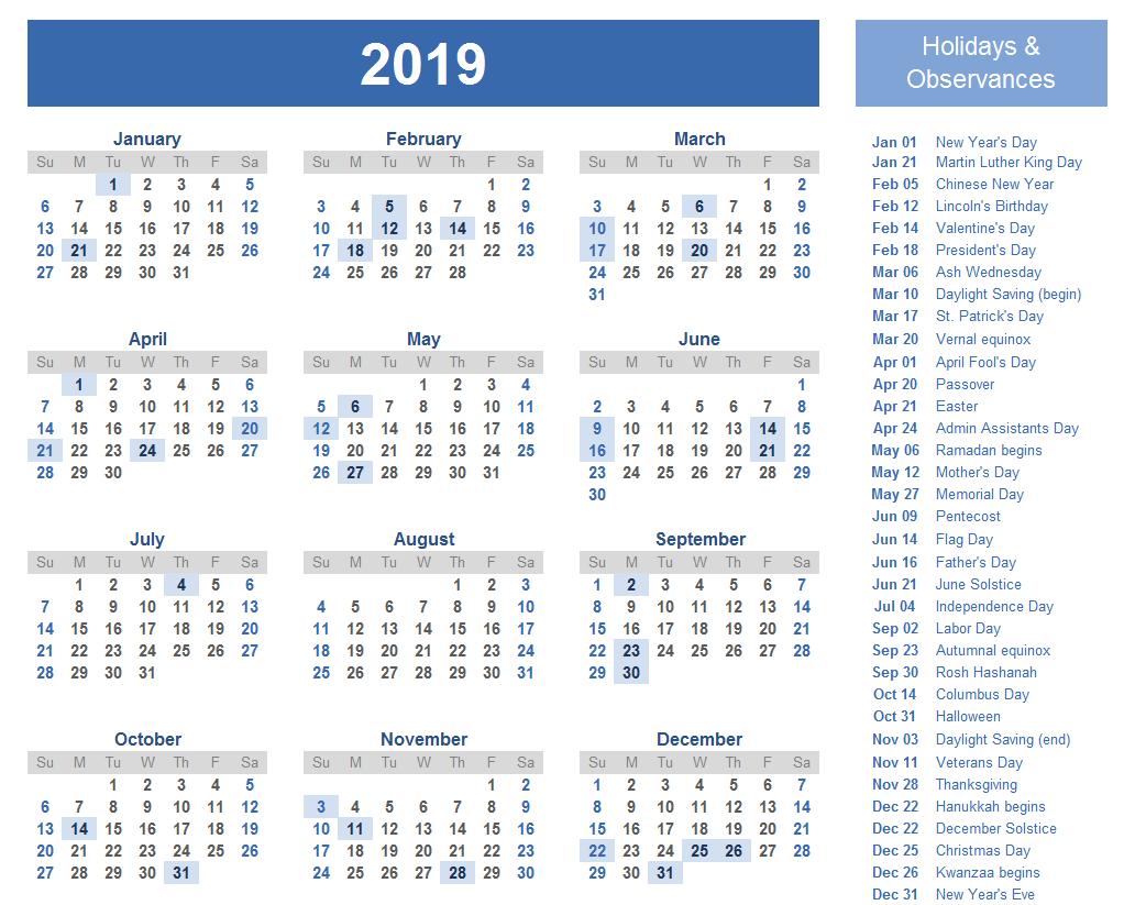 2019 Calendar Qld Holidays