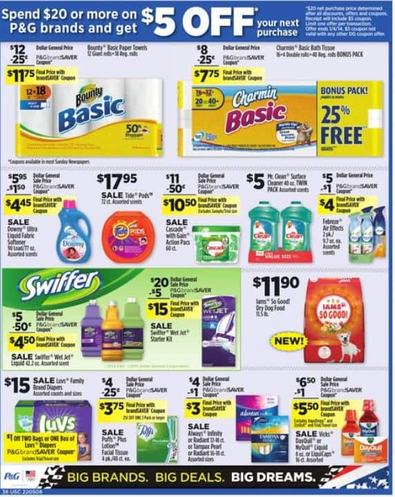 Dollar General Spend 20 Or More On P G Products And Get 5 Off Your Next Purchase Through 01 04 New Coupons And Deals Printable Coupons And Deals
