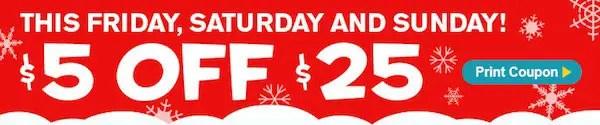 Freds Super Dollar 5 off 25